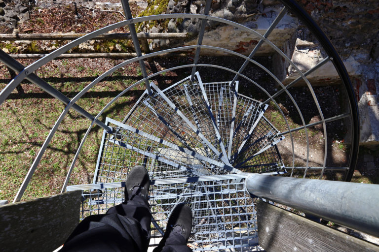 Risk of accident while walking stairs. Fear of heights or dizziness when descending a steep staircase